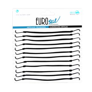 Eurostil Λαστιχάκια Με Γάντζους Μαύρα 12τμχ