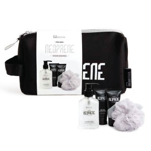 IDC Institute Neoprene Black Men's Gift Set Body Wash & Shampoo 160ml Body Lotion 60ml Shaving Gel 60ml