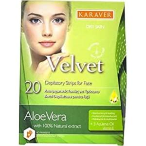 Karaver Velvet Face Αποτριχωτικές Ταινίες Προσώπου Aloe Vera