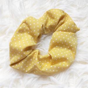 Scrunchie Πουά Κίτρινο