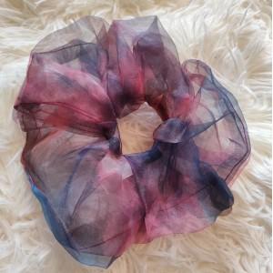 Scrunchie Large Οργάντζα Tie Dye Ροζ Μοβ