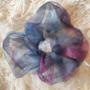 Scrunchie Large Οργάντζα Tie Dye Μπλε Πράσινο