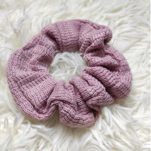 Scrunchie Πλεκτό Ροζ